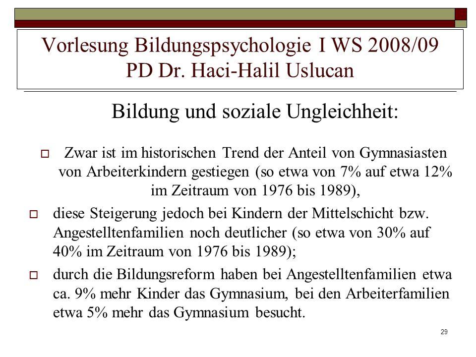 29 Vorlesung Bildungspsychologie I WS 2008/09 PD Dr. Haci-Halil Uslucan Bildung und soziale Ungleichheit: Zwar ist im historischen Trend der Anteil vo