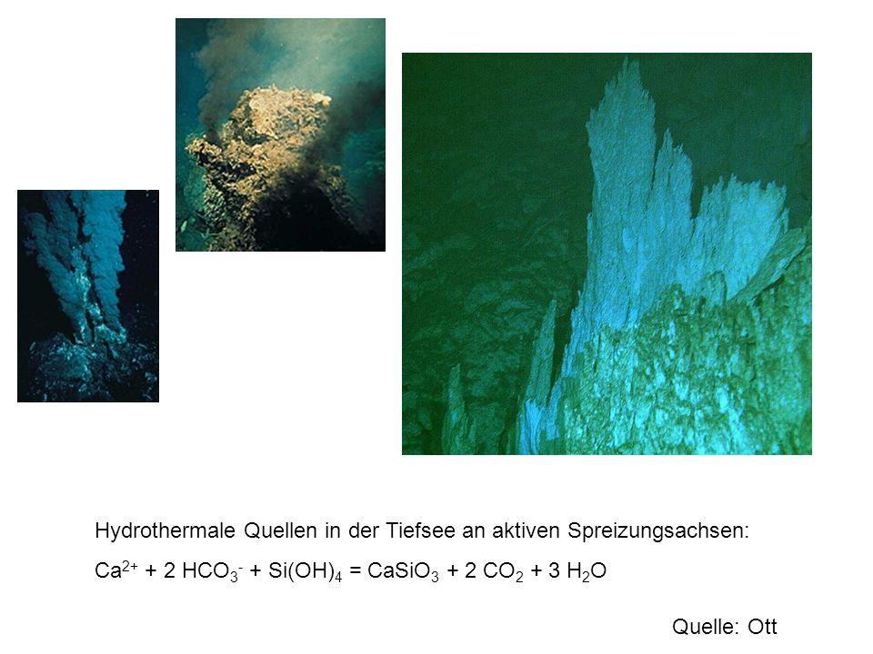 Hydrothermale Quellen in der Tiefsee an aktiven Spreizungsachsen: Ca 2+ + 2 HCO 3 - + Si(OH) 4 = CaSiO 3 + 2 CO 2 + 3 H 2 O Quelle: Ott