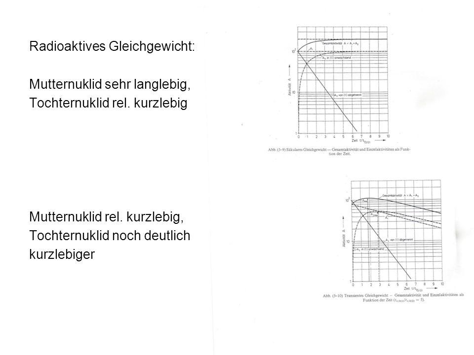 Radioaktives Gleichgewicht: Mutternuklid sehr langlebig, Tochternuklid rel. kurzlebig Mutternuklid rel. kurzlebig, Tochternuklid noch deutlich kurzleb