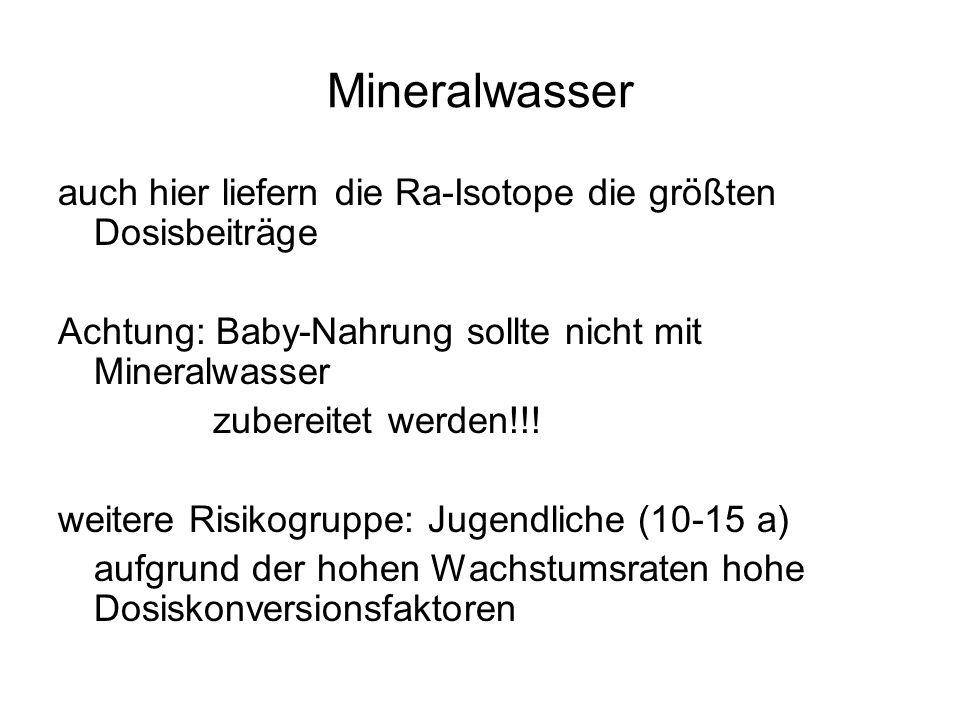 Mineralwasser auch hier liefern die Ra-Isotope die größten Dosisbeiträge Achtung: Baby-Nahrung sollte nicht mit Mineralwasser zubereitet werden!!! wei