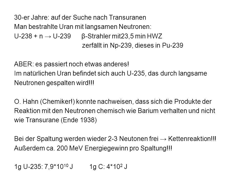 30-er Jahre: auf der Suche nach Transuranen Man bestrahlte Uran mit langsamen Neutronen: U-238 + n U-239 β-Strahler mit23,5 min HWZ zerfällt in Np-239