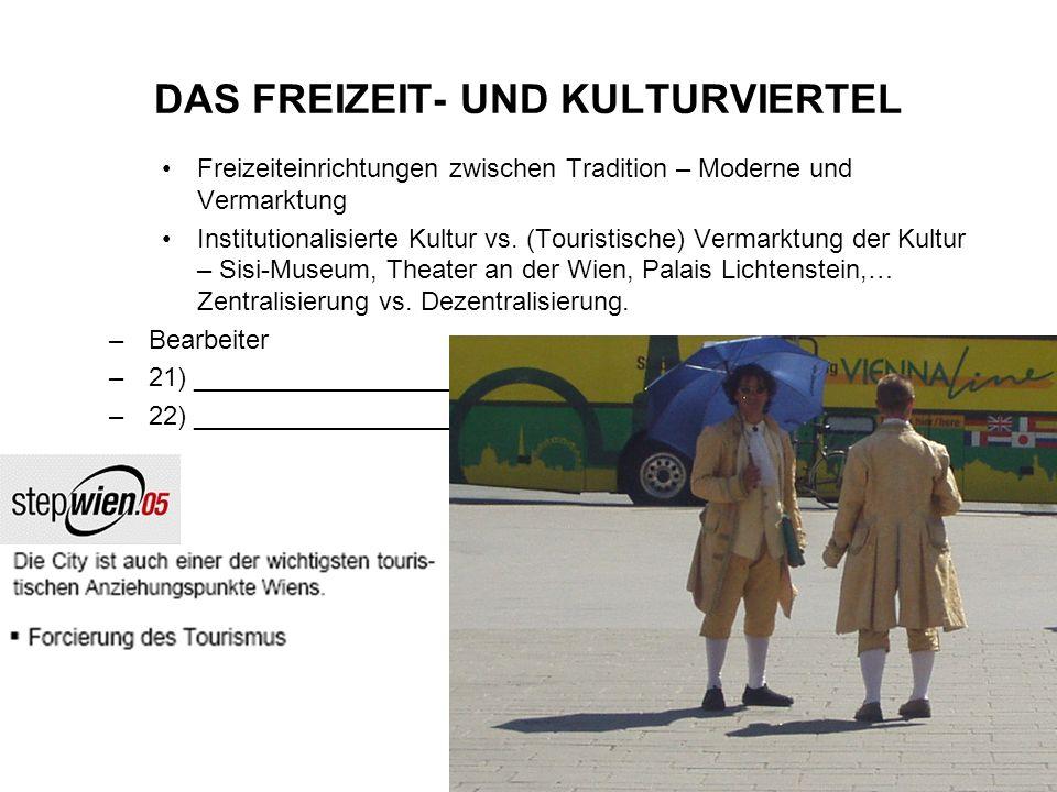 DAS FREIZEIT- UND KULTURVIERTEL Freizeiteinrichtungen zwischen Tradition – Moderne und Vermarktung Institutionalisierte Kultur vs. (Touristische) Verm