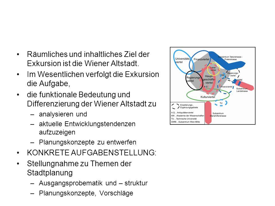 Räumliches und inhaltliches Ziel der Exkursion ist die Wiener Altstadt. Im Wesentlichen verfolgt die Exkursion die Aufgabe, die funktionale Bedeutung
