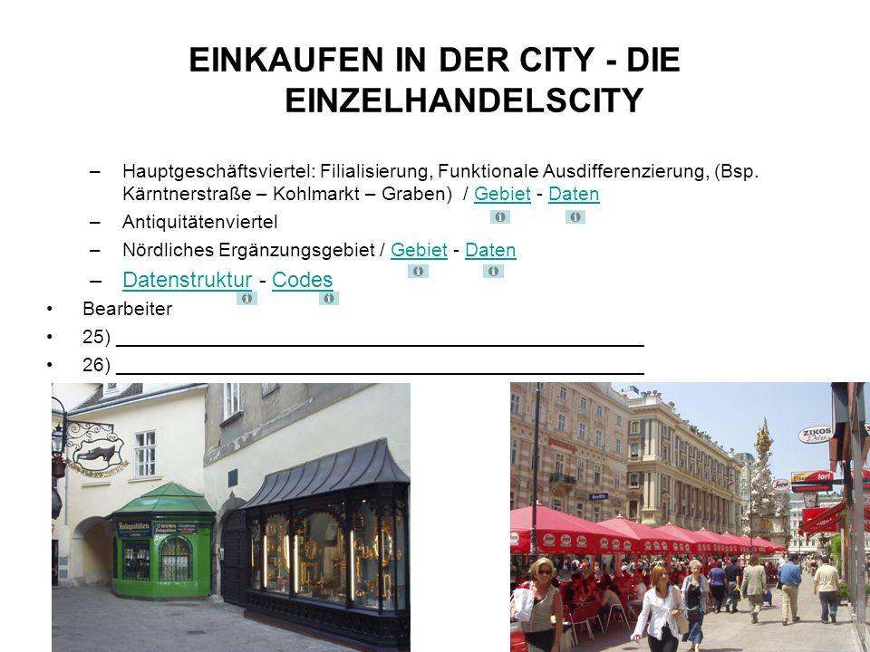 –Hauptgeschäftsviertel: Filialisierung, Funktionale Ausdifferenzierung, (Bsp.