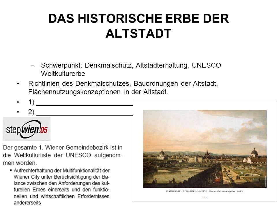 DAS HISTORISCHE ERBE DER ALTSTADT –Schwerpunkt: Denkmalschutz, Altstadterhaltung, UNESCO Weltkulturerbe Richtlinien des Denkmalschutzes, Bauordnungen