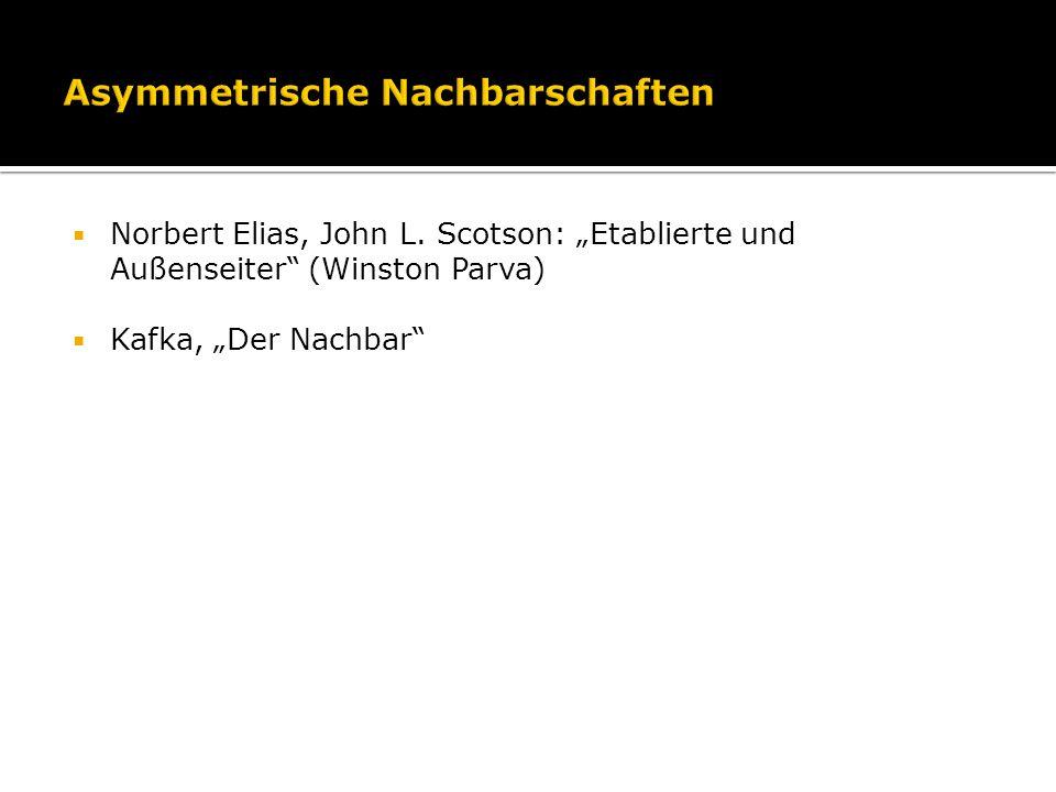 Norbert Elias, John L. Scotson: Etablierte und Außenseiter (Winston Parva) Kafka, Der Nachbar