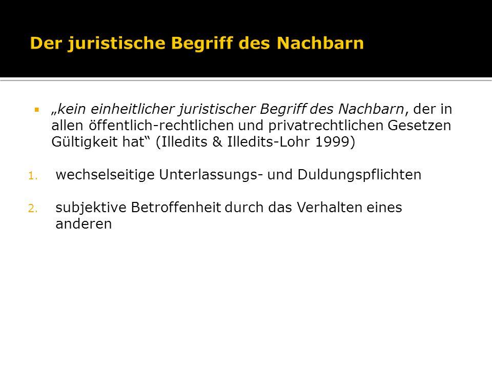 kein einheitlicher juristischer Begriff des Nachbarn, der in allen öffentlich-rechtlichen und privatrechtlichen Gesetzen Gültigkeit hat (Illedits & Il