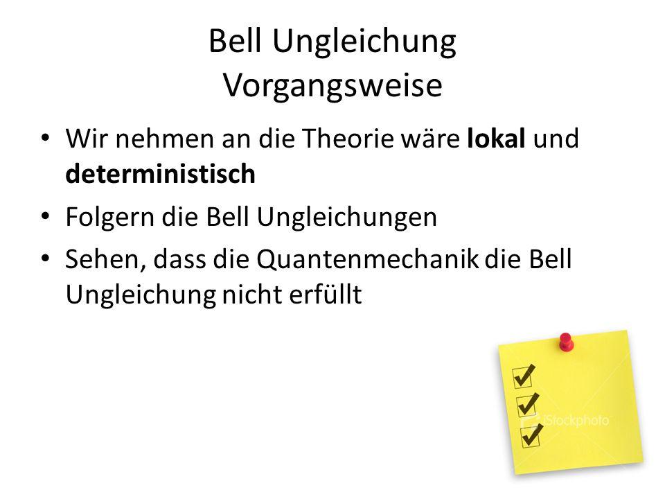 Bell Ungleichung Vorgangsweise Wir nehmen an die Theorie wäre lokal und deterministisch Folgern die Bell Ungleichungen Sehen, dass die Quantenmechanik