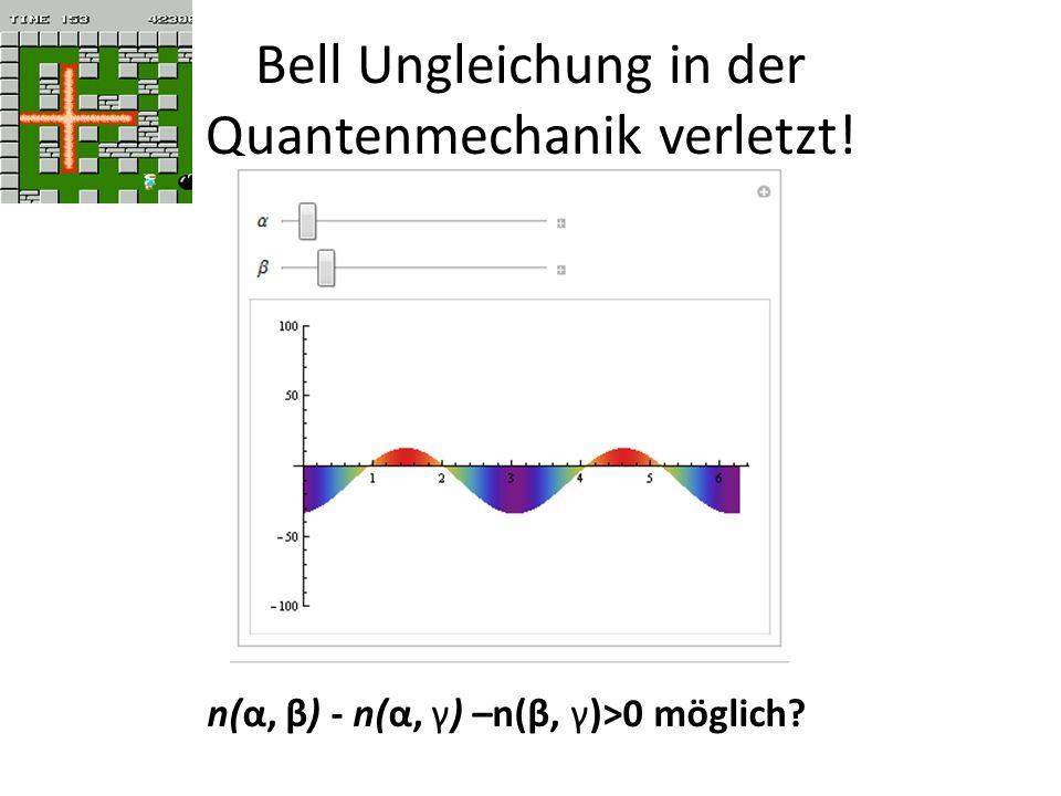 Bell Ungleichung in der Quantenmechanik verletzt! n(α, β) - n(α, γ) –n(β, γ)>0 möglich?