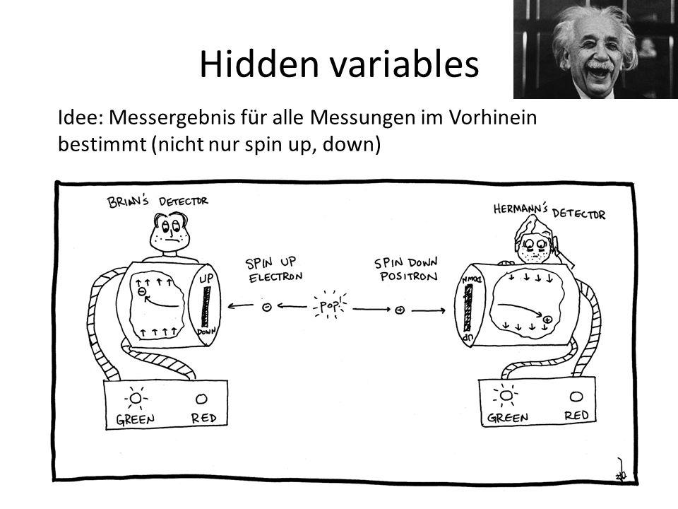 Hidden variables Idee: Messergebnis für alle Messungen im Vorhinein bestimmt (nicht nur spin up, down)