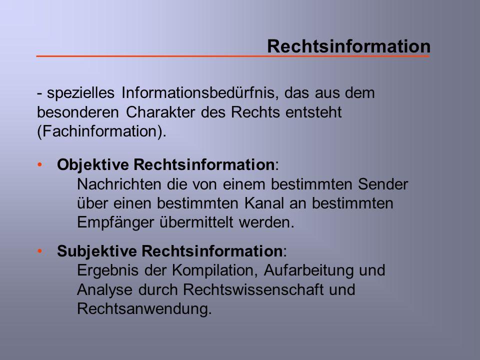 Rechtsinformation - spezielles Informationsbedürfnis, das aus dem besonderen Charakter des Rechts entsteht (Fachinformation). Objektive Rechtsinformat