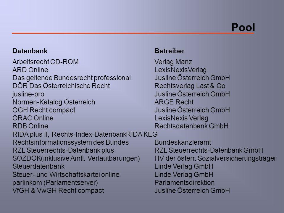 Pool DatenbankBetreiber Arbeitsrecht CD-ROMVerlag Manz ARD OnlineLexisNexisVerlag Das geltende Bundesrecht professionalJusline Österreich GmbH DÖR Das