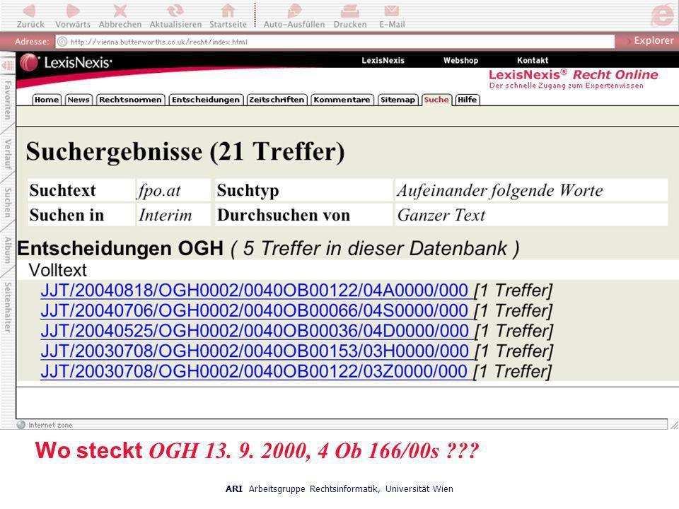 Wo steckt OGH 13. 9. 2000, 4 Ob 166/00s ???
