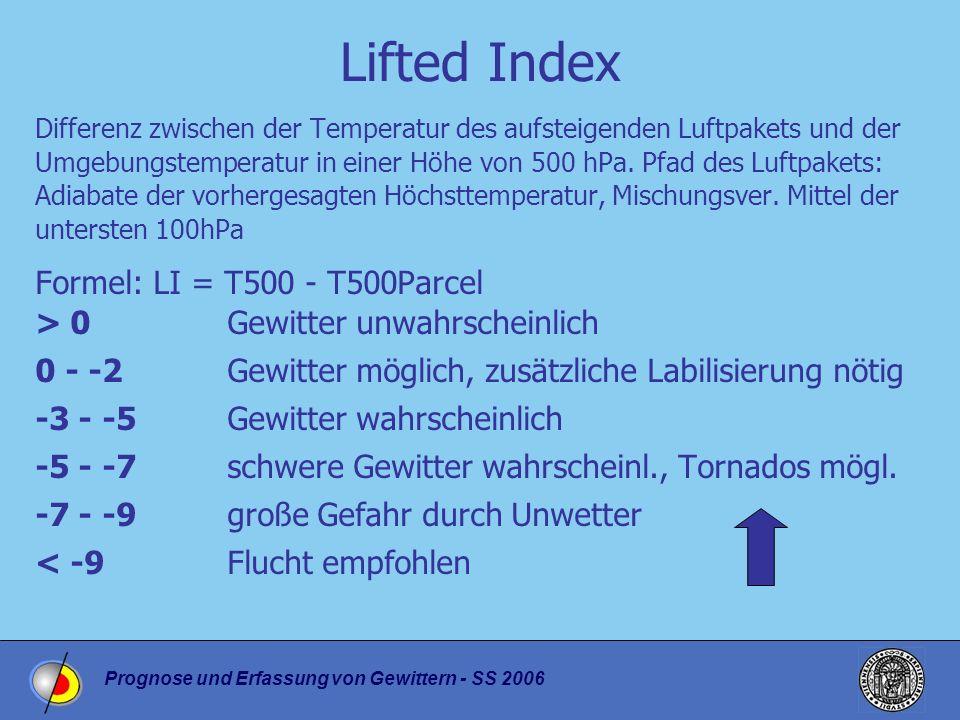 Prognose und Erfassung von Gewittern - SS 2006 Lifted Index Differenz zwischen der Temperatur des aufsteigenden Luftpakets und der Umgebungstemperatur in einer Höhe von 500 hPa.
