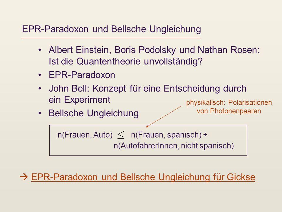 EPR-Paradoxon und Bellsche Ungleichung Albert Einstein, Boris Podolsky und Nathan Rosen: Ist die Quantentheorie unvollständig? EPR-Paradoxon John Bell