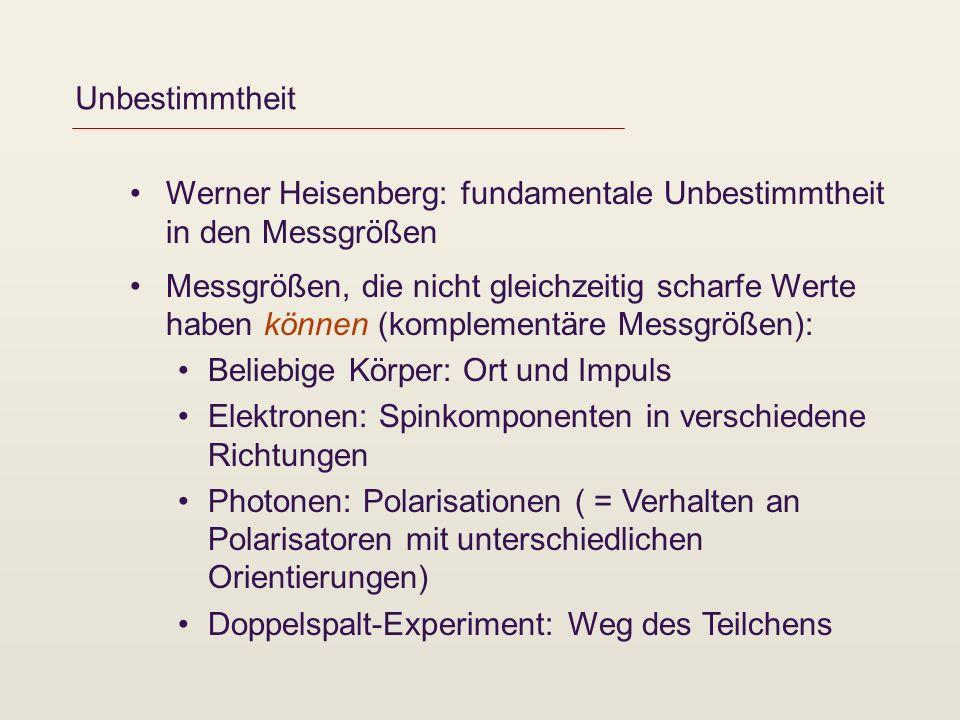 Unbestimmtheit Werner Heisenberg: fundamentale Unbestimmtheit in den Messgrößen Messgrößen, die nicht gleichzeitig scharfe Werte haben können (komplem