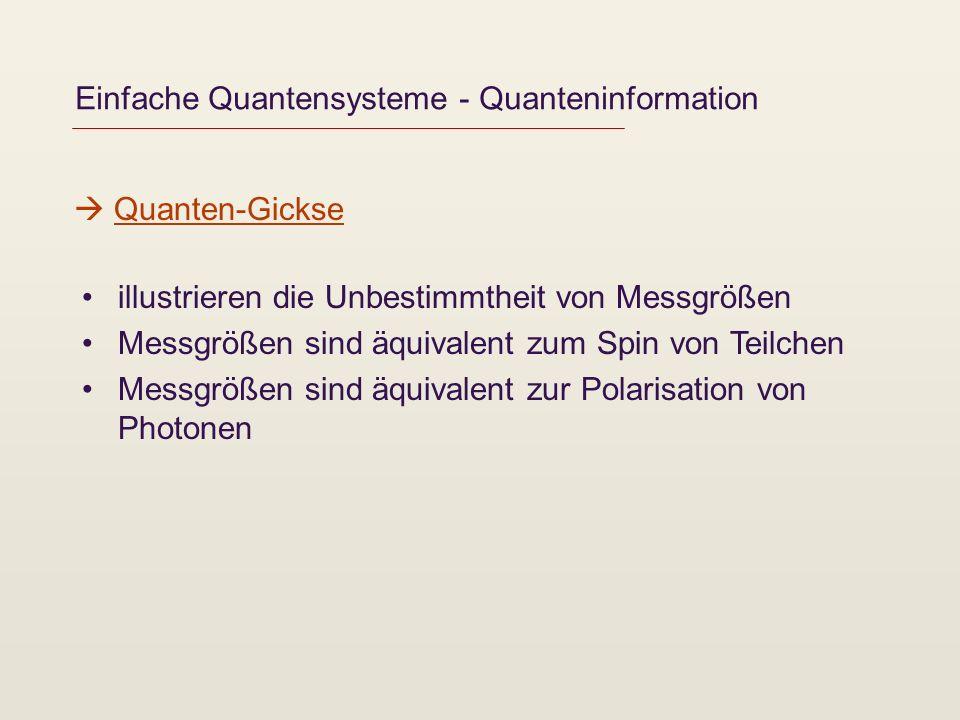 Einfache Quantensysteme - Quanteninformation illustrieren die Unbestimmtheit von Messgrößen Messgrößen sind äquivalent zum Spin von Teilchen Messgröße