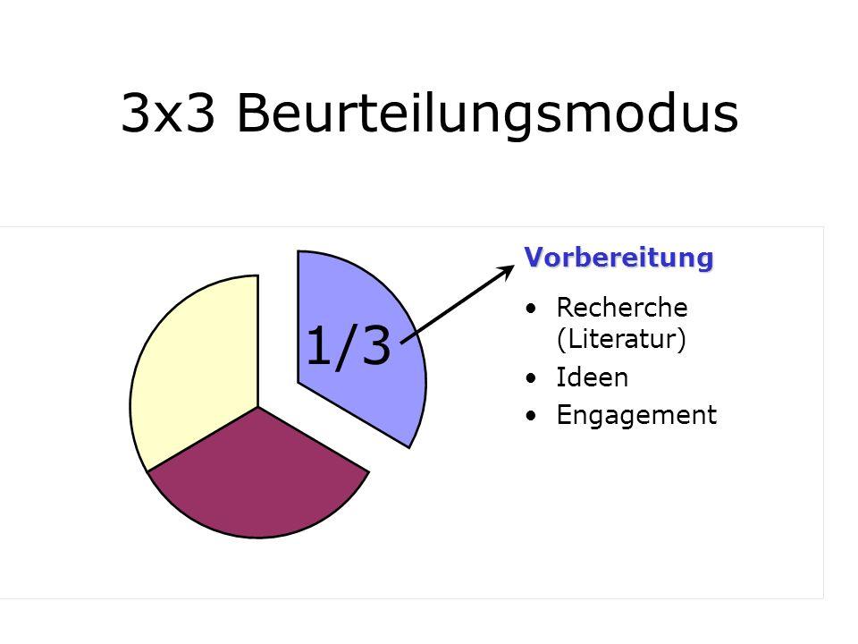 3x3 Beurteilungsmodus Recherche (Literatur) Ideen Engagement Vorbereitung 1/3