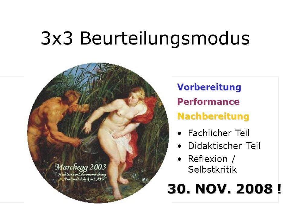 3x3 Beurteilungsmodus Vorbereitung 1/3 Performance Fachlicher Teil Didaktischer Teil Reflexion / Selbstkritik Nachbereitung 30. NOV. 2008 !