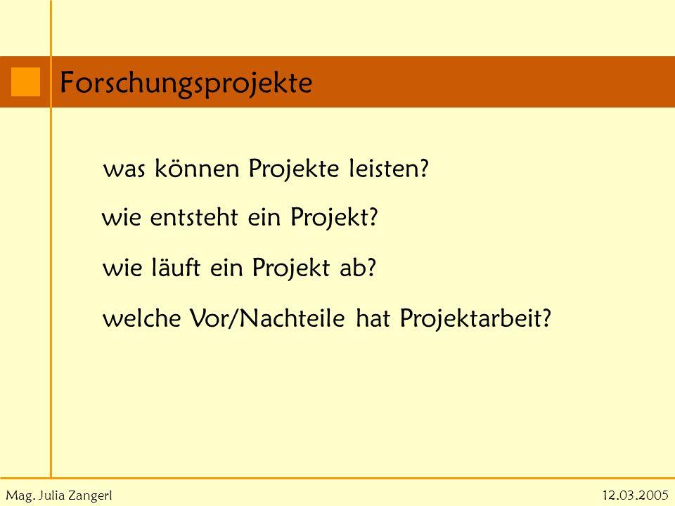 Mag. Julia Zangerl Forschungsprojekte 12.03.2005 was können Projekte leisten? wie entsteht ein Projekt? wie läuft ein Projekt ab? welche Vor/Nachteile