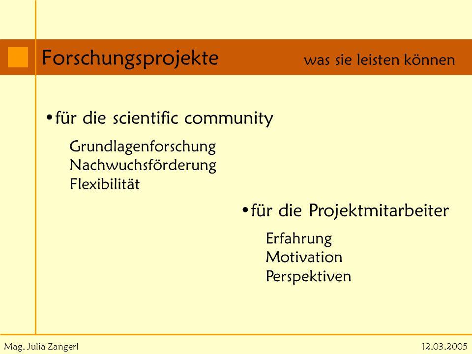 Mag. Julia Zangerl Forschungsprojekte 12.03.2005 was sie leisten können für die scientific community Grundlagenforschung Nachwuchsförderung Flexibilit