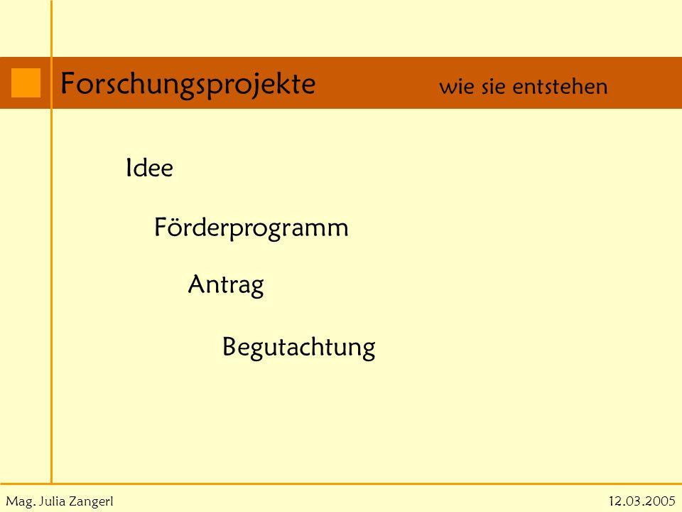 Mag. Julia Zangerl Forschungsprojekte 12.03.2005 wie sie entstehen Idee Förderprogramm Antrag Begutachtung