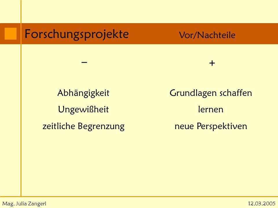Mag. Julia Zangerl Forschungsprojekte 12.03.2005 Vor/Nachteile _ + Grundlagen schaffen lernen neue Perspektiven Abhängigkeit Ungewißheit zeitliche Beg
