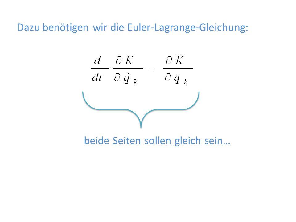 Dazu benötigen wir die Euler-Lagrange-Gleichung: beide Seiten sollen gleich sein…