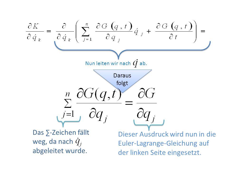 Daraus folgt Dieser Ausdruck wird nun in die Euler-Lagrange-Gleichung auf der linken Seite eingesetzt. Das -Zeichen fällt weg, da nach abgeleitet wurd
