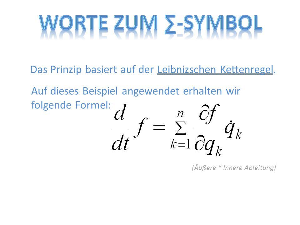 Das Prinzip basiert auf der Leibnizschen Kettenregel. Auf dieses Beispiel angewendet erhalten wir folgende Formel: (Äußere * Innere Ableitung)