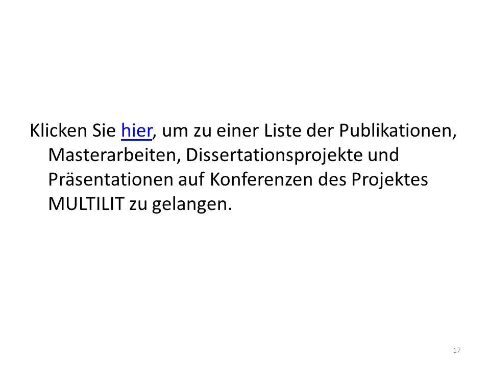 Klicken Sie hier, um zu einer Liste der Publikationen, Masterarbeiten, Dissertationsprojekte und Präsentationen auf Konferenzen des Projektes MULTILIT zu gelangen.hier 17