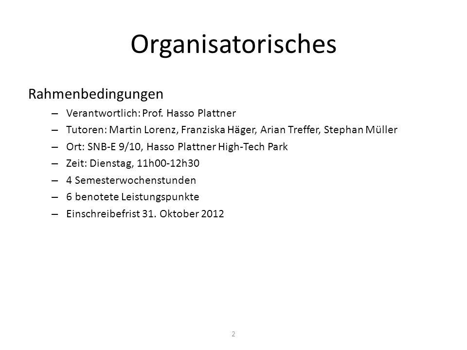 Organisatorisches Rahmenbedingungen – Verantwortlich: Prof.