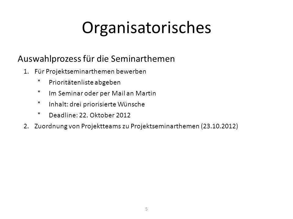 Fragen zur Organisation?