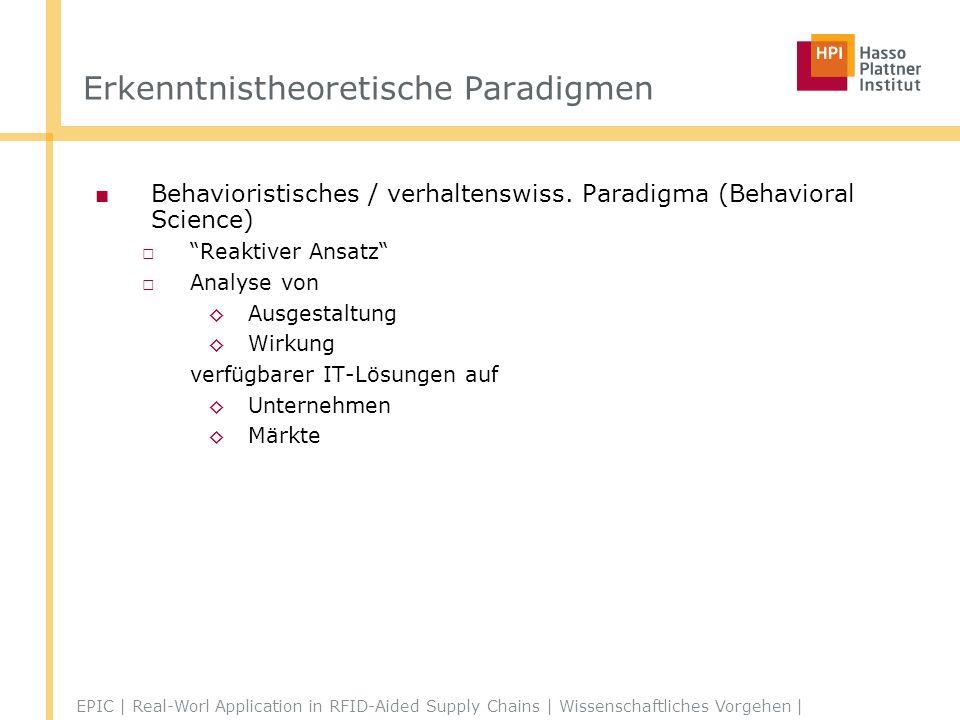 Erkenntnistheoretische Paradigmen Behavioristisches / verhaltenswiss.