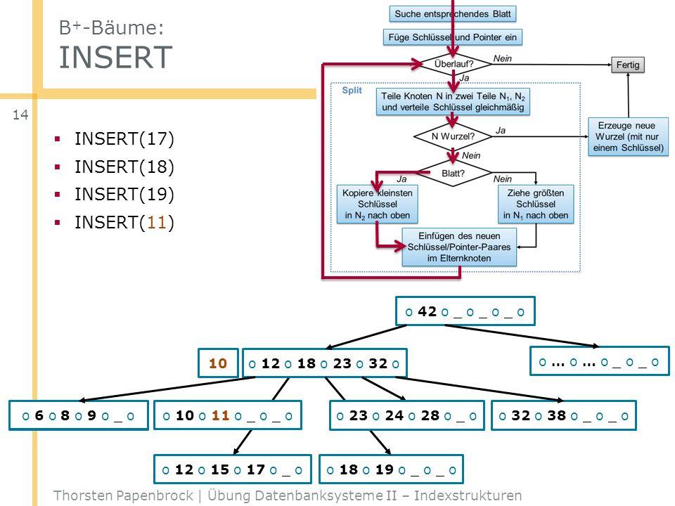 B + -Bäume: INSERT Thorsten Papenbrock | Übung Datenbanksysteme II – Indexstrukturen 14 o 42 o _ o _ o _ o o 12 o 23 o 32 o _ o o … o … o _ o _ o o 6