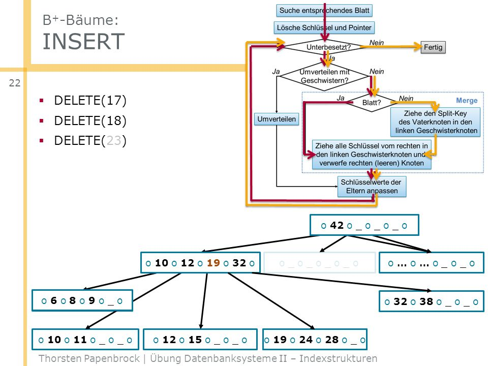 B + -Bäume: INSERT Thorsten Papenbrock | Übung Datenbanksysteme II – Indexstrukturen 22 DELETE(17) DELETE(18) DELETE(23) o … o … o _ o _ o o 6 o 8 o 9