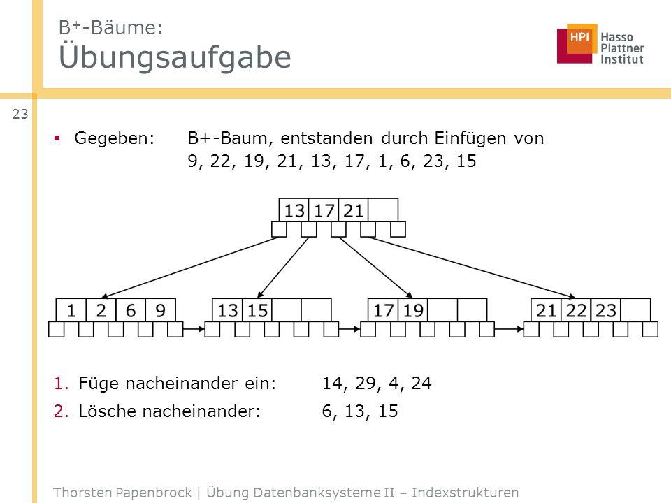 B + -Bäume: Übungsaufgabe Gegeben: B+-Baum, entstanden durch Einfügen von 9, 22, 19, 21, 13, 17, 1, 6, 23, 15 1.Füge nacheinander ein:14, 29, 4, 24 2.