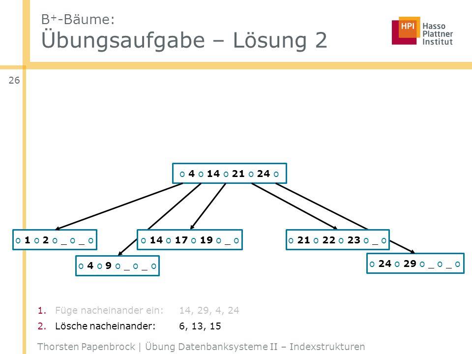 1.Füge nacheinander ein:14, 29, 4, 24 2.Lösche nacheinander:6, 13, 15 B + -Bäume: Übungsaufgabe – Lösung 2 Thorsten Papenbrock | Übung Datenbanksystem