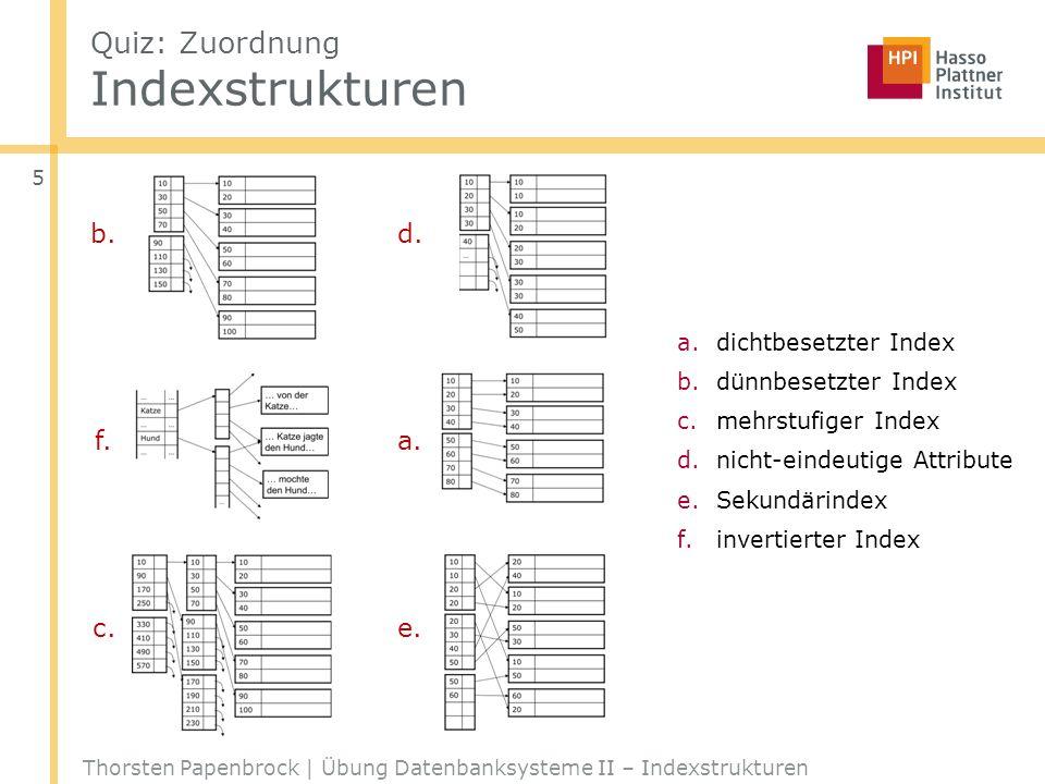 B + -Bäume: INSERT Thorsten Papenbrock | Übung Datenbanksysteme II – Indexstrukturen 16 o 42 o _ o _ o _ o o … o … o _ o _ o o 6 o 8 o 9 o 10 oo 32 o 38 o _ o _ o INSERT(17) INSERT(18) INSERT(19) INSERT(11) o 6 o 8 o 9 o _ oo 6 o 8 o 9 o _ o o 23 o 32 o _ o _ oo 10 o 12 o _ o _ o o 12 o 15 o 17 o _ oo 18 o 19 o _ o _ o o 23 o 24 o 28 o _ o o 10 o 11 o _ o _ o o 18 o 42 o _ o _ o