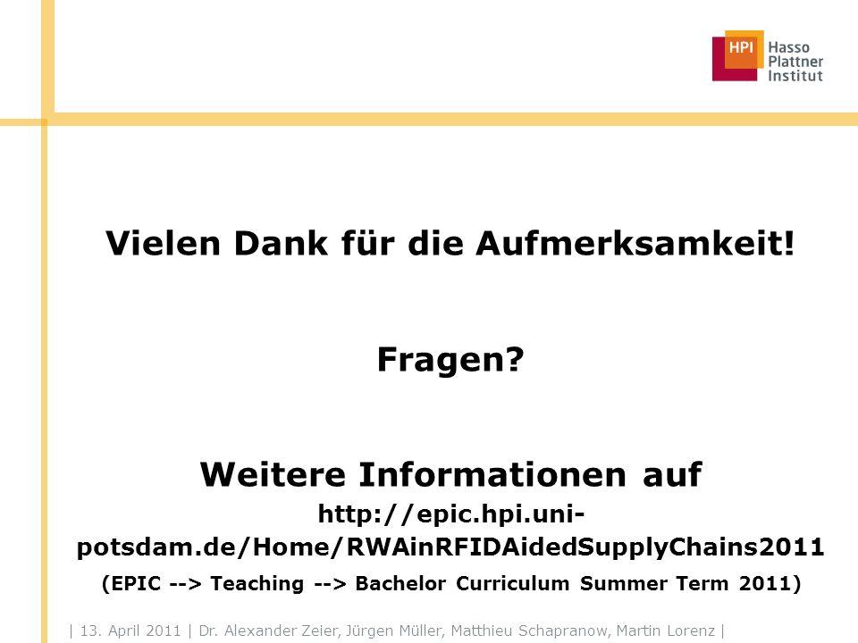 | 13. April 2011 | Dr. Alexander Zeier, Jürgen Müller, Matthieu Schapranow, Martin Lorenz | Vielen Dank für die Aufmerksamkeit! Fragen? Weitere Inform