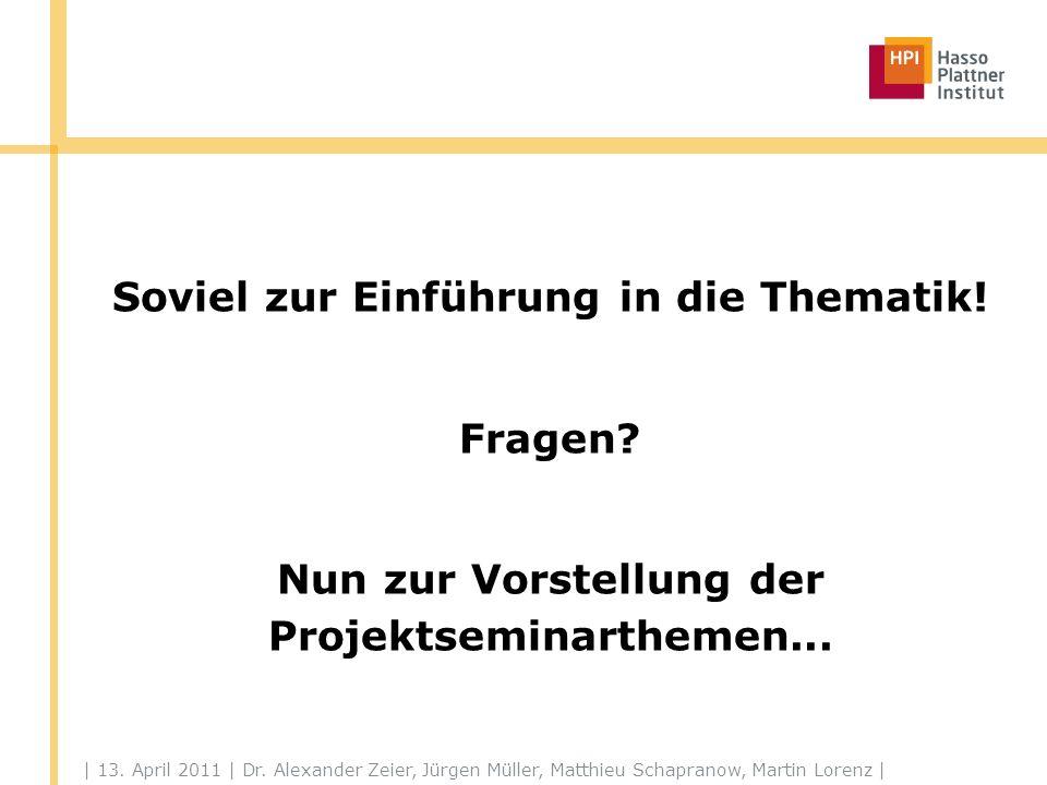 | 13. April 2011 | Dr. Alexander Zeier, Jürgen Müller, Matthieu Schapranow, Martin Lorenz | Soviel zur Einführung in die Thematik! Fragen? Nun zur Vor