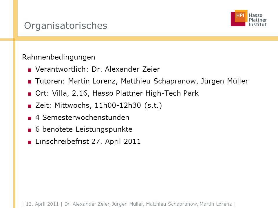 | 13. April 2011 | Dr. Alexander Zeier, Jürgen Müller, Matthieu Schapranow, Martin Lorenz | Organisatorisches Rahmenbedingungen Verantwortlich: Dr. Al