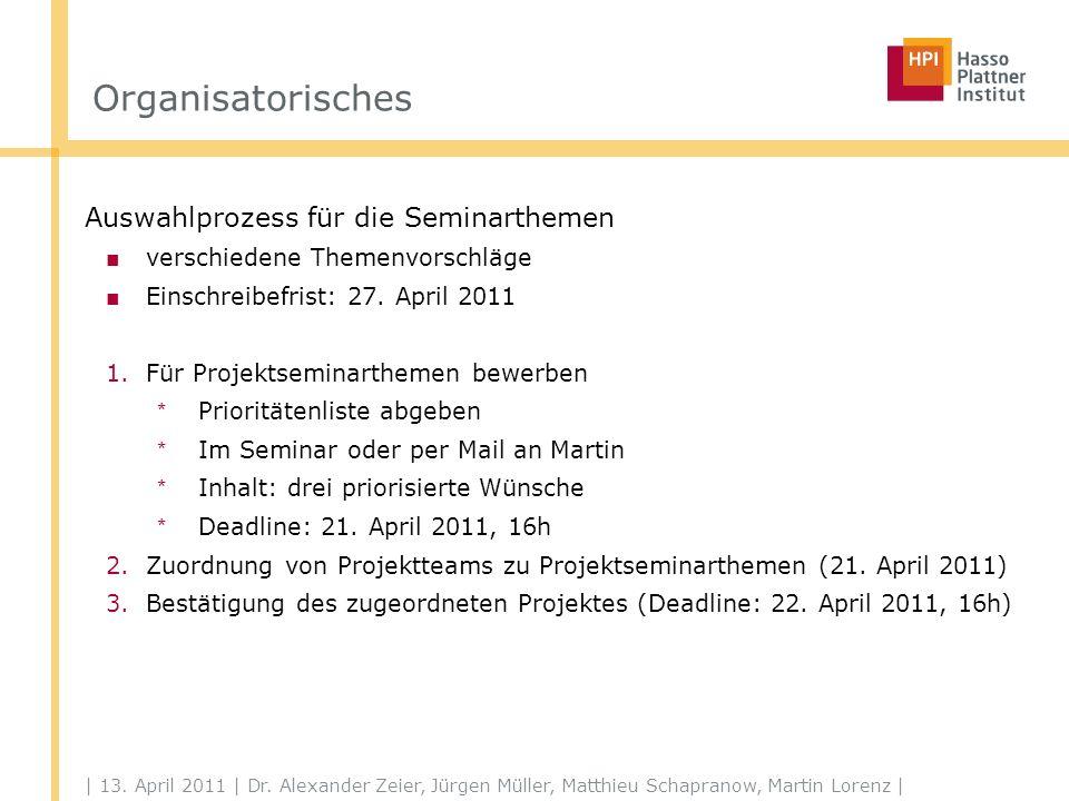 | 13. April 2011 | Dr. Alexander Zeier, Jürgen Müller, Matthieu Schapranow, Martin Lorenz | Organisatorisches Auswahlprozess für die Seminarthemen ver