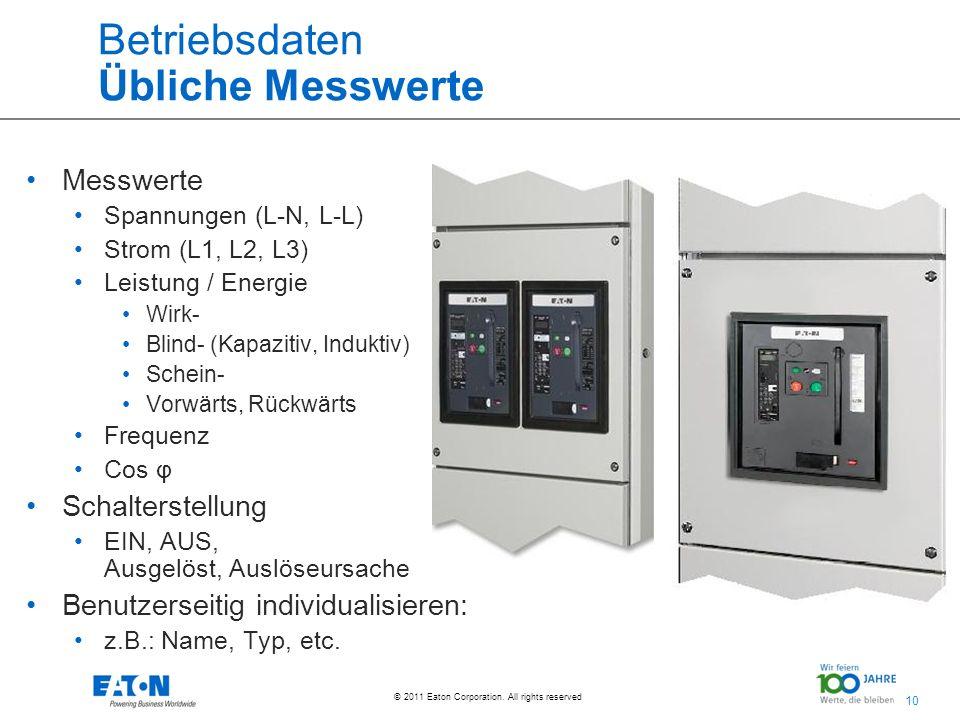 10 © 2011 Eaton Corporation. All rights reserved. Betriebsdaten Übliche Messwerte Messwerte Spannungen (L-N, L-L) Strom (L1, L2, L3) Leistung / Energi