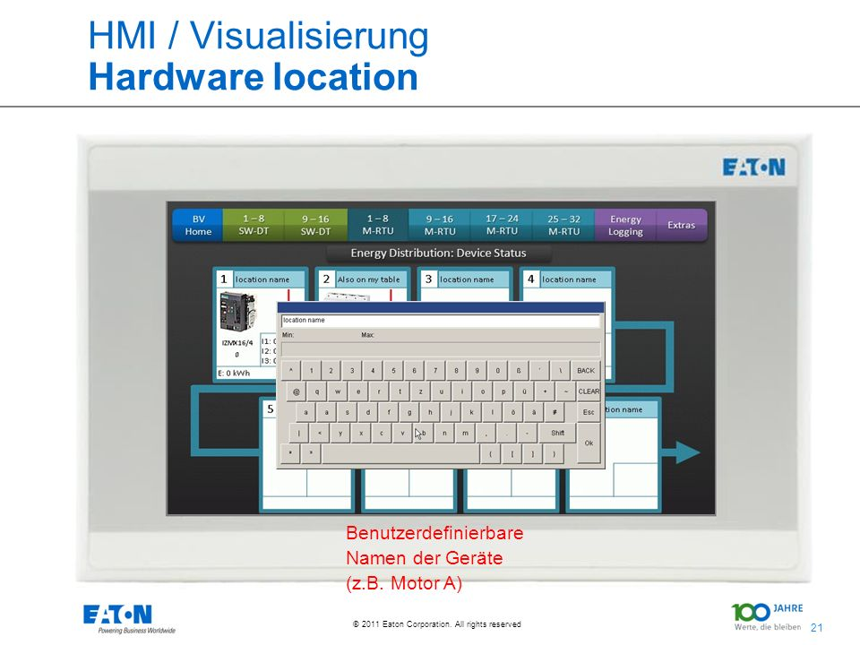 21 © 2011 Eaton Corporation. All rights reserved. HMI / Visualisierung Hardware location Benutzerdefinierbare Namen der Geräte (z.B. Motor A)