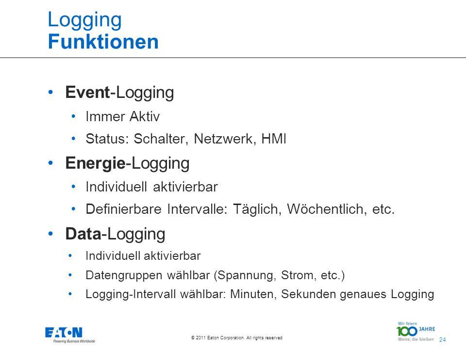 24 © 2011 Eaton Corporation. All rights reserved. Logging Funktionen Event-Logging Immer Aktiv Status: Schalter, Netzwerk, HMI Energie-Logging Individ