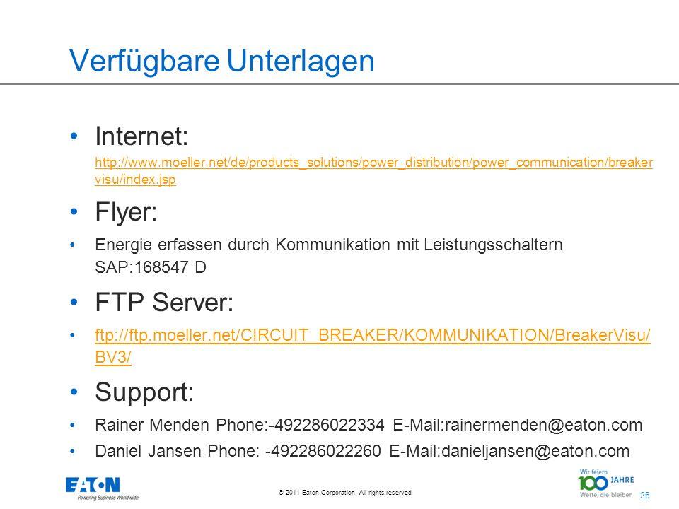26 © 2011 Eaton Corporation. All rights reserved. Verfügbare Unterlagen Internet: http://www.moeller.net/de/products_solutions/power_distribution/powe