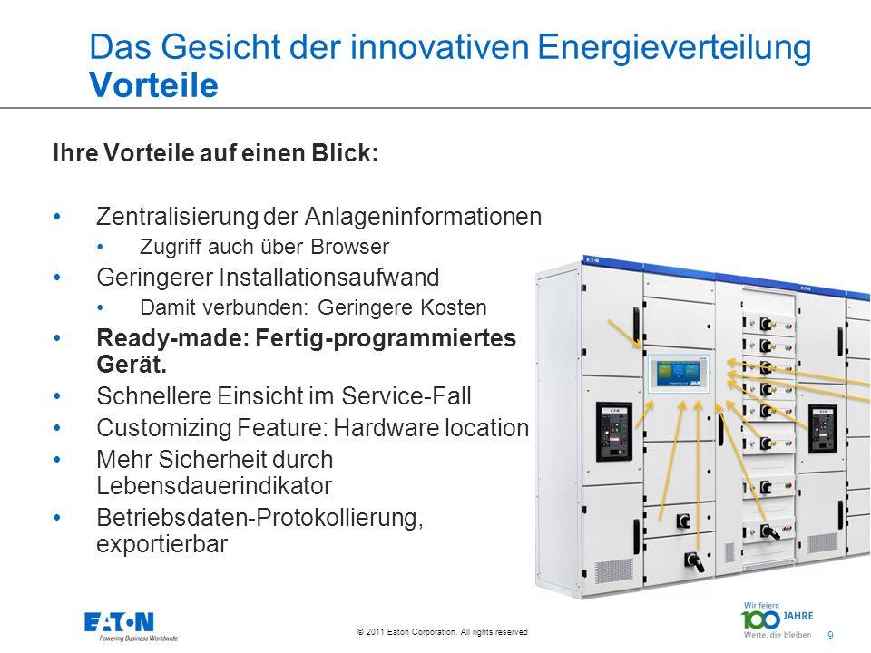 9 9 © 2011 Eaton Corporation. All rights reserved. Das Gesicht der innovativen Energieverteilung Vorteile Ihre Vorteile auf einen Blick: Zentralisieru