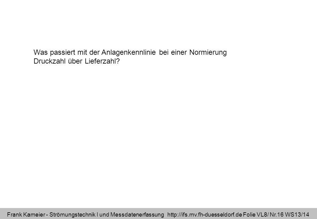 Frank Kameier - Strömungstechnik I und Messdatenerfassung http://ifs.mv.fh-duesseldorf.de Folie VL8/ Nr.16 WS13/14 Was passiert mit der Anlagenkennlin