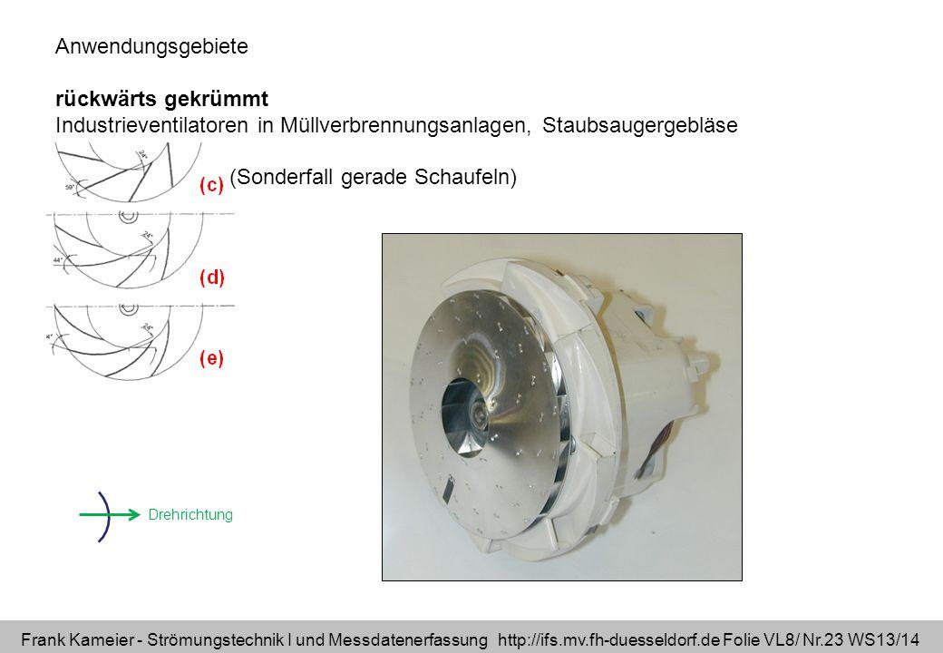 Frank Kameier - Strömungstechnik I und Messdatenerfassung http://ifs.mv.fh-duesseldorf.de Folie VL8/ Nr.23 WS13/14 Anwendungsgebiete rückwärts gekrümm